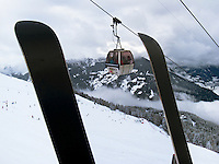 "Switzerland. Canton Valais. Cable car in Verbier at "" Les Ruinettes"" ( 2200 meters). Verbier is a village located in the municipality of Bagnes in the Val de Bagnes. Verbier is one of the largest holiday resort and ski areas in the Swiss Alps. 4.01.2012 © 2012 Didier Ruef"
