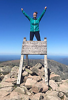 Courtesy photo/KRISTEN LEWIS<br /> Kristen Lewis celebrates the finish of her 2,189.2 mile Appalachian Trail hike at the summit of Mt. Katahdin in Maine.