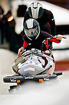 18 November 2005: Shawna Rohbock pilots USA 1 to a 3rd place finish at the 2005 FIBT AIT World Cup Women's Bobsleigh Tour at the Verizon Sports Complex, in Lake Placid, NY. Mandatory Photo Credit: Ed Wolfstein.