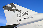 The tail of an F-16C Falcon fighter. Serial number 83135 was built by General Dynamics and entered the U.S. Air Force inventory of Feb 28, 1985. In December of 2006 the aircraft was reassigned from the 194 FS in Fresno, California to the 195 FS in Tucson, Arizona. Photographed 09/06