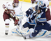 Pat Mullane (BC - 11), Dan Sullivan (Maine - 30), Jeff Dimmen (Maine - 6) - The Boston College Eagles defeated the visiting University of Maine Black Bears 4-0 on Friday, November 19, 2010, at Conte Forum in Chestnut Hill, Massachusetts.