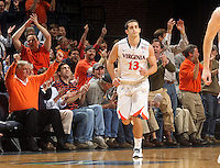 Feb. 2, 2011; Charlottesville, VA, USA; The crowd cheers for Virginia Cavaliers guard Sammy Zeglinski (13) after he scores his third consecutive three point basket during the game Clemson Tigers at the John Paul Jones Arena. Mandatory Credit: Andrew Shurtleff