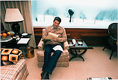 U.S. President Ronald Reagan works on his State of the Union Address over the weekend in Aspen Lodge, the presidential residence at Camp David on February 3, 1985..