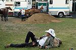 Mint Polo in the Park. Hurlingham Park Fulham London Uk June 6th 2010. Devils Horsemen Stunt rider.