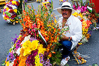 A man ends his silleta before to take a part on the 58th Silleteros' parade in the framework of the flowers' fair, this year the parade was declared intangible heritage of Colombia. Medellín, Colombia 09/08/2015