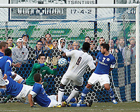 Last man, Creighton University goalkeeper Jeff Gal (30) makes the save..NCAA Tournament. Creighton University (blue) defeated University of Connecticut (white), 1-0, at Morrone Stadium at University of Connecticut on December 2, 2012.