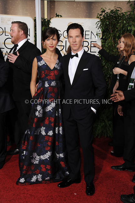 WWW.ACEPIXS.COM<br /> <br /> January 11 2015, LA<br /> <br /> Director Sophie Hunter (L) and actor Benedict Cumberbatch arriving at the 72nd Annual Golden Globe Awards at The Beverly Hilton Hotel on January 11, 2015 in Beverly Hills, California.<br /> <br /> <br /> By Line: Peter West/ACE Pictures<br /> <br /> <br /> ACE Pictures, Inc.<br /> tel: 646 769 0430<br /> Email: info@acepixs.com<br /> www.acepixs.com