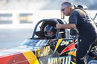 Jul 8, 2016; Joliet, IL, USA; Crew member with NHRA top fuel driver Luigi Novelli during qualifying for the Route 66 Nationals at Route 66 Raceway. Mandatory Credit: Mark J. Rebilas-USA TODAY Sports