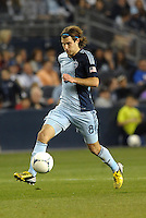 Graham Zusi (8) Sporting KC midfield in action..Sporting Kansas City defeated Montreal Impact 2-0 at Sporting Park, Kansas City, Kansas.