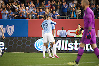 BRONX, NY - Sunday May 3, 2015: Mehdi Ballouchy scores NYCFC's only goal in the 54th minute.  Expansion team New York City FC loses 3-1 at home at Yankee Stadium to the Seattle Sounders during the 20th MLS regular season.