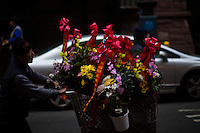 A man pushes a cart with flowers at Manhattan's Chinatown in New York, Nov 11, 2013. VIEWpress/Eduardo Munoz Alvarez