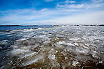 Ice breaking up near the shore of Lake Mendota at Governor Nelson State Park, near Madison, Wisconsin.