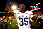 Freshman cornerback Cartier Rice celebrates the Cats' 34-27 upset over the University of Georgia Bulldogs on Saturday, Nov. 21, 2009 at Sanford Stadium in Athens, Ga.