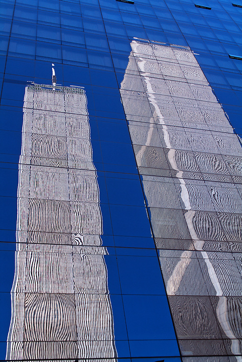 NYC, NY, Twin Tower Reflection, World Trade Center, designed by Minoru Yamasaki, International Style II