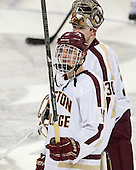 Chris Calnan (BC - 11), Thatcher Demko (BC - 30) - The Boston College Eagles defeated the visiting University of Massachusetts Lowell River Hawks 3-0 on Friday, February 21, 2014, at Kelley Rink in Conte Forum in Chestnut Hill, Massachusetts.