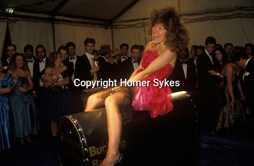 Bucking Bronco. Cirencester Royal Agricultural College. End of year summer Ball. 1980s.