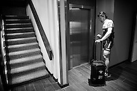 Fabian Cancellara (SUI/Trek-Segafredo) checks into a hotel near the finish of the prologue to get some extra rest before the actual race start.<br /> <br /> stage 1: Apeldoorn prologue 9.8km<br /> 99th Giro d'Italia 2016