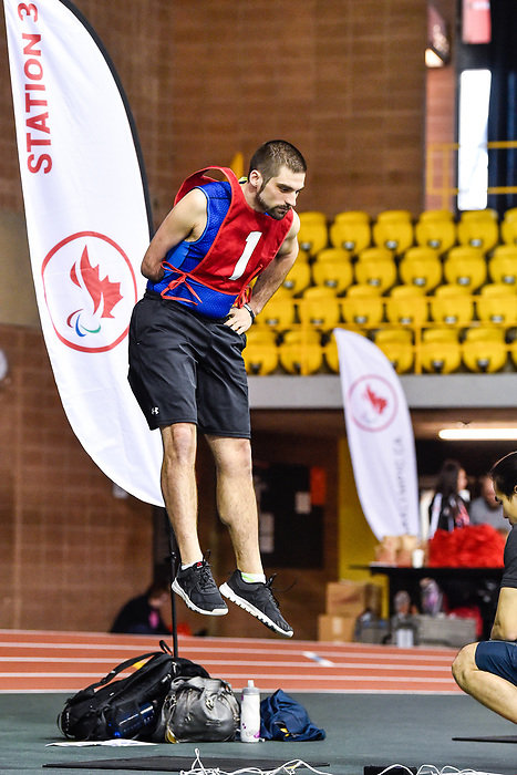 MONTREAL, QC - APRIL 29:  A participant takes part in a jumping exercise during the 2017 Montreal Paralympian Search at Complexe sportif Claude-Robillard. Photo: Minas Panagiotakis/Canadian Paralympic Committee