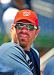 3 July 2010: Washington Nationals' first baseman Adam Dunn warms up prior to a game against the New York Mets at Nationals Park in Washington, DC. The Nationals defeated the Mets 6-5 in the third game of their 4-game series. Mandatory Credit: Ed Wolfstein Photo