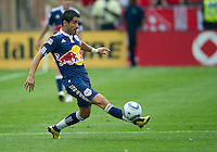 August 21 2010 New York Red Bulls forward Juan Pablo Angel # 9 in action during a game between the New York Red Bulls and Toronto FC at BMO Field in Toronto..The New York Red Bulls won 4-1