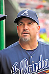 22 July 2012: Atlanta Braves Manager Fredi Gonzalez watches play from the dugout during a game against the Washington Nationals at Nationals Park in Washington, DC. The Braves fell to the Nationals 9-2 splitting their 4-game weekend series. Mandatory Credit: Ed Wolfstein Photo