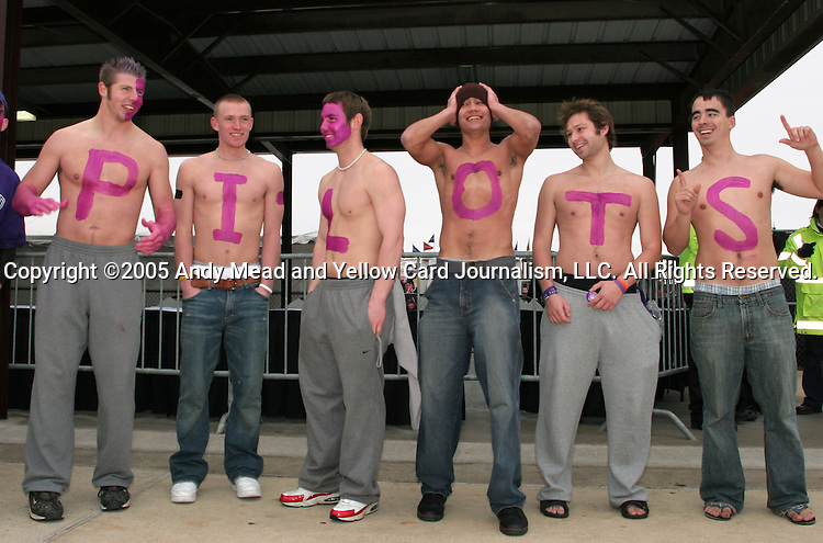 "A group of Portland students spell out ""PILOTS"" on their chests. The University of Portland Pilots defeated the UCLA Bruins 4-0 to win the NCAA Division I Women's Soccer Championship game at Aggie Soccer Stadium in College Station, TX, Sunday, December 4, 2005."