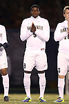 12 November 2013: Wake Forest's Sean Okoli. The Wake Forest University Demon Deacons hosted the University of Virginia Cavaliers at Spry Stadium in Winston-Salem, North Carolina in a 2013 NCAA Division I Men's Soccer match and the quarterfinals of the Atlantic Coast Conference tournament. Virginia won the game 1-0 in overtime.