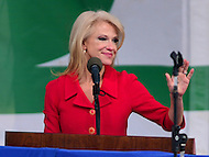 Washington, DC - January 27, 2017: Republican strategist and advisor Kellyanne Conway addresses tens of thousands of people during the annual March for Life Rally on the National Mall in the District of Columbia, January 27, 2017.  (Photo by Don Baxter/Media Images International)