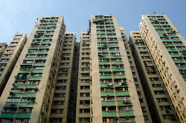 Hong Kong urban scene - highrise partment buildings crowd the sky