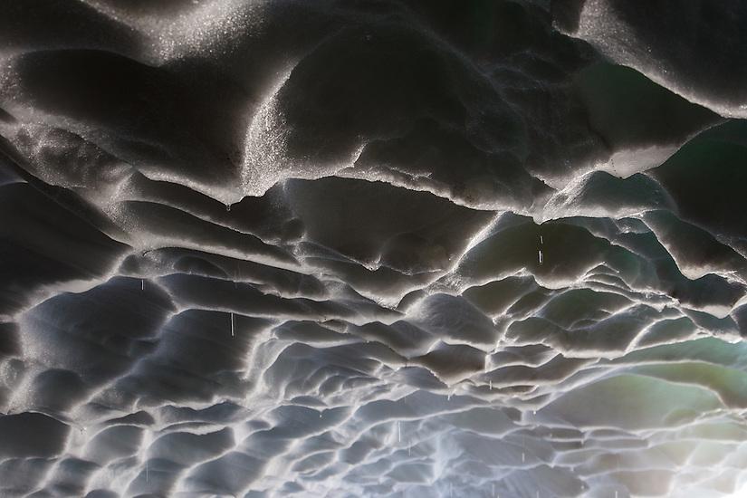 Inside of Pure Imagination Cave in Sandy Glacier on Mt Hood.