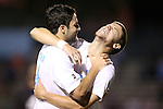 23 October 2012: UNC's Martin Murphy (right) celebrates his goal with Jordan Gafa (left). The University of North Carolina Tar Heels Campbell University Fighting Camels at Fetzer Field in Chapel Hill, North Carolina in a 2012 NCAA Division I Men's Soccer game. UNC won the game 3-0.