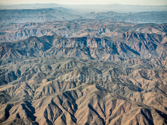 Tonto National Forest, Northeast of Phoenix from a window seat on approach to the Sky Harbour, Arizona