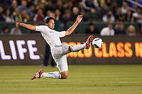 LA Galaxy defender Omar Gonzalez (4) reaches for a ball on the way to a win kept Portland at bay all evening. The LA Galaxy defeated the Portland Timbers 3-0 at Home Depot Center stadium in Carson, California on  April  23, 2011....