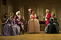Bath, UK. 09.07.2012. THE SCHOOL FOR SCANDAL opens the Theatre Royal Bath's summer season of new in-house productions, overseen by leading guest director, Jamie Lloyd. Picture shows:  Timothy Speyer (Servant), Serena Evans (Lady Sneerwell), Grant Gillespie (Sir Benjamin Backbite),Susannah Fielding (Lady Teazle), Edward Bennett (Joseph Surface), David Killick (Crabtree), Maggie Steed (Mrs Candour). Photo credit: Jane Hobson