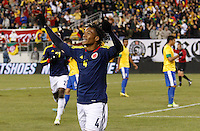 Colombian player Juan Cuadrado celebrates his goal against Brazil, during their friendly match at MetLife Stadium in East Rutherford New Jersey, November 14, 2012. Photo by Eduardo Munoz Alvarez / VIEWpress.