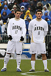 13 December 2009: Akron's Ben Speas (17) and Chris Korb (16). The University of Virginia Cavaliers defeated the University of Akron Zips 3-2 on penalty kicks after playing to a 0-0 overtime tie at WakeMed Soccer Stadium in Cary, North Carolina in the NCAA Division I Men's College Cup Championship game.