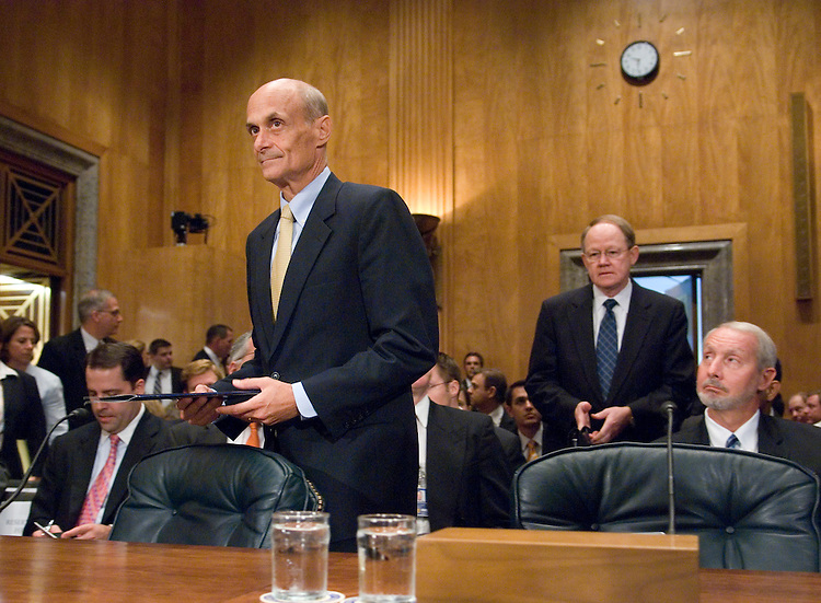 "From left, Homeland Security Secretary Michael Chertoff and Director of National Intelligence Michael McConnell arrive for the Senate Homeland Security and Governmental Affairs Committee hearing on ""Confronting the Terrorist Threat to the Homeland: Six Years After 9/11"" on Monday, Sept. 10, 2007. FBI Director Robert Mueller and  John Redd, director of the National Counterterrorism Center in the Office of the Director of National Intelligence, also testified duing the hearing."