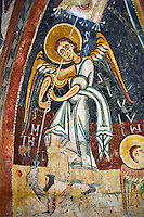 Romanesque frescoes depicting Archangel Michael Killing a dragon  from the Church of Sant Miguel d'Engolasters, Les Escaldes, Andorra.. Painted around 1160. National Art Museum of Catalonia, Barcelona. MNAC 15972