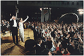 Washington, DC - January 20, 1981 -- United States President Ronald Reagan and First Lady Nancy Reagan wave to well-wishers at the Inaugural Ball at the National Air and Space Museum in Washington, DC on January 20, 1981<br /> Credit: The White House via CNP