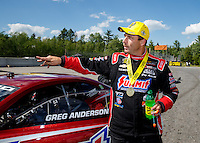 Jun 6, 2016; Epping , NH, USA; NHRA pro stock driver Greg Anderson celebrates after winning the New England Nationals at New England Dragway. Mandatory Credit: Mark J. Rebilas-USA TODAY Sports