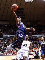WEST LAFAYETTE, IN - JANUARY 02: Tracy Abrams #13 of the Illinois Fighting Illini shoots the ball over Rapheal Davis #35 of the Purdue Boilermakers at Mackey Arena on January 2, 2013 in West Lafayette, Indiana. (Photo by Michael Hickey/Getty Images) *** Local Caption *** Tracy Abrams; Rapheal Davis