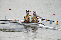 Brest, Belarus.  AUS LM2X , at the  the start.  2010. FISA U23 Championships. Thursday,  22/07/2010.  [Mandatory Credit Peter Spurrier/ Intersport Images]