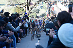 Michal Kwiatkowski (POL) Team Sky leads Rafal Majka (POL) Bora-Hansgrohe and Nairo Quintana (COL) Movistar Team up one of the ramps to Fermo during Stage 5 of the 2017 Tirreno Adriatico running 210km from Rieti to Fermo, Italy. 12th March 2017.<br /> Picture: La Presse/Fabio Ferrari  | Cyclefile<br /> <br /> <br /> All photos usage must carry mandatory copyright credit (&copy; Cyclefile | La Presse)