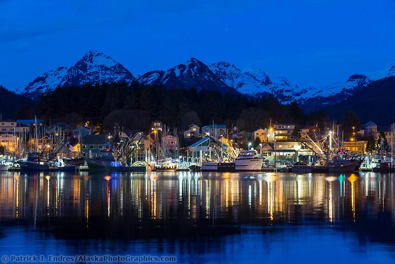 Commercial fishing boats in the Sitka harbor at dusk, Sitka, Alaska.