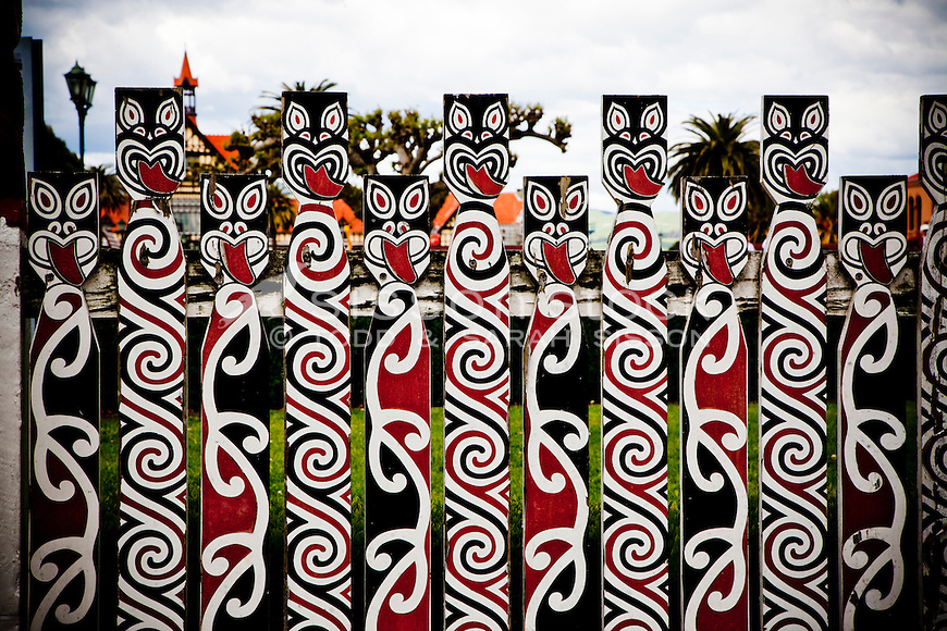 Maori art at entrance to Rotorua Museum and Government Gardens, Rotorua, New Zealand - stock photo, canvas, fine art print
