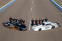 Feb 3, 2015; Chandler, AZ, USA; NHRA pro stock driver Jonathan Gray (left) and Shane Gray and crew members pose for a portrait during testing at Wild Horse Motorsports Park. Mandatory Credit: Mark J. Rebilas-USA TODAY Sports