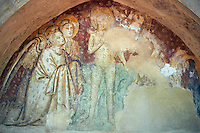 Medieval Fresco of The Baptism of Christ in Santi Giovanni e Reparata, Lucca, Tunscany, Italy