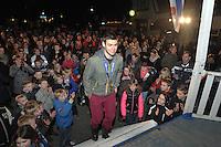 SHORTTRACK: BANTEGA: Huldiging Sjinkie Knegt, wint brons op de 1.000 meter tijdens de Olympische Winterspelen in Sochi, ©foto Martin de Jong