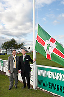 President of the Newark & Nottinghamshire Agricultural Society Mitch Stevenson OBE  (left) andLord Lieutenant of Nottinghamshire Sir Andrew Buchanan raise the flag to start the show at Friday night's dinner.
