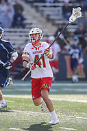 College Park, MD - March 18, 2017: Maryland Terrapins Bryce Young (41) makes a pass during game between Villanova and Maryland at  Capital One Field at Maryland Stadium in College Park, MD.  (Photo by Elliott Brown/Media Images International)